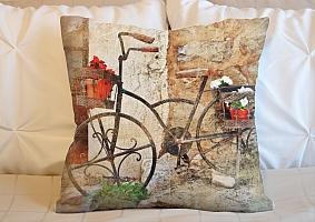 3D Подушка «Фреска винтажный велосипед»
