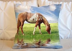 3D Подушка «Лошадь на лугу»  вид 6