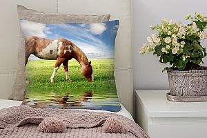 3D Подушка «Лошадь на лугу»  вид 7