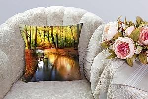 3D Подушка «Река в лесу»  вид 3