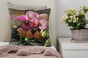 3D Подушка «Орхидея на камне»