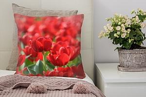 3D Подушка «Красные тюльпаны»