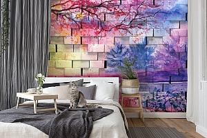 3D Фотообои  «Кирпичная стена с живописью»  вид 7