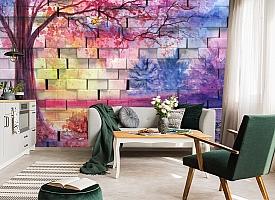 3D Фотообои  «Кирпичная стена с живописью»  вид 6