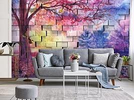 3D Фотообои  «Кирпичная стена с живописью»  вид 3
