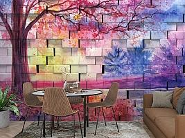 3D Фотообои  «Кирпичная стена с живописью»  вид 2