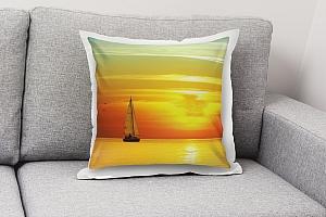 3D Подушка «Парусник на закате солнца»  вид 6