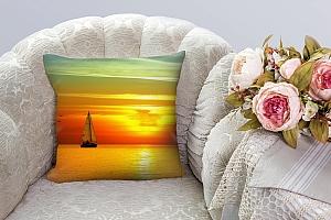 3D Подушка «Парусник на закате солнца»  вид 3