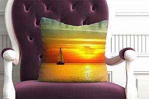 3D Подушка «Парусник на закате солнца»  вид 4