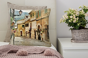 3D Подушка «Фреска итальянские улочки»