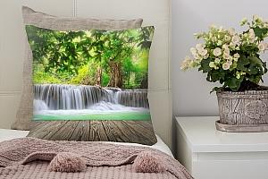 3D Подушка «Мостик у водопада»