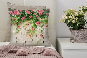 3D Подушка «Кирпичная стена с цветами»