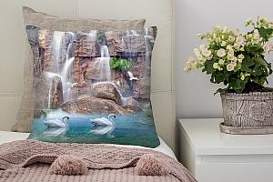 3D Подушка «Водопад с лебедями»