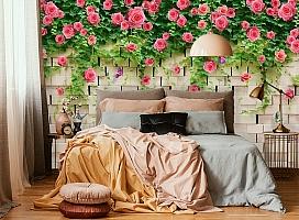 3D Фотообои «Кирпичная стена с цветами» вид 6