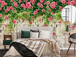 3D Фотообои «Кирпичная стена с цветами» вид 4