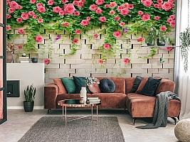 3D Фотообои «Кирпичная стена с цветами» вид 3