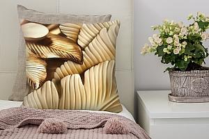 3D Подушка «Бутон магнолии с оттиском золота»
