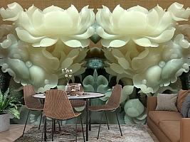 3D Фотообои  «Нефритовые цветы»  вид 3