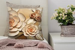 3D Подушка «Розы с тиснением под керамику»