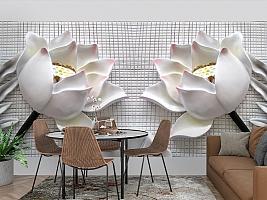 3D Фотообои  «Лотосы на плитке»  вид 3