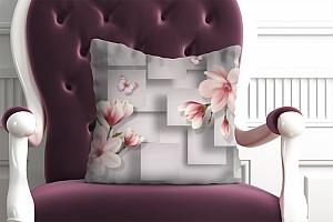 3D Подушка «Розовые магнолии на сером фоне »