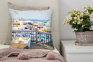 3D Подушка «Вид с террасы Санторини»