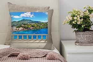 3D Подушка «Балкон с колоннами средиземноморский пейзаж»