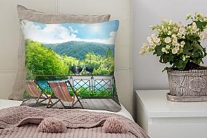 3D Подушка «Балкон в долине водопадов»