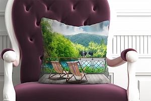 3D Подушка «Балкон в долине водопадов»  вид 3
