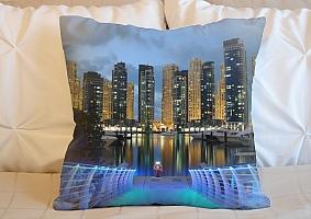 3D Подушка «Пристань с видом на ночной город»