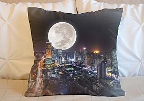 3D Подушка «Суперлуние над ночным городом»