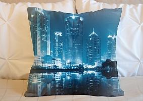 3D Подушка «Неоновые огни ночного города»
