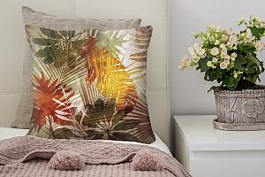 3D Подушка «Рельефная инсталляция с листьями пальмы»