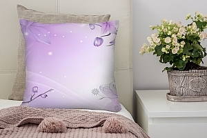 3D Подушка «Фиолетовая цветочная фантазия»