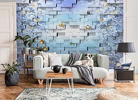 3D Фотообои  «Кирпичная стена с бабочками»  вид 7