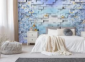 3D Фотообои  «Кирпичная стена с бабочками»  вид 5