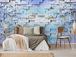 3D Фотообои  «Кирпичная стена с бабочками»  вид 3