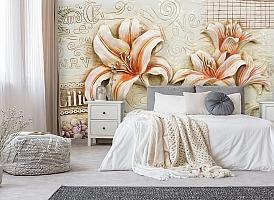 3D Фотообои  «Лилии под каменную фреску»  вид 6