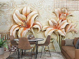 3D Фотообои  «Лилии под каменную фреску»  вид 3