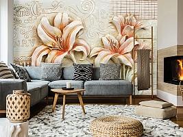 3D Фотообои  «Лилии под каменную фреску»