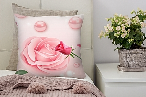 3D Подушка «Объемные розы с жемчугом»