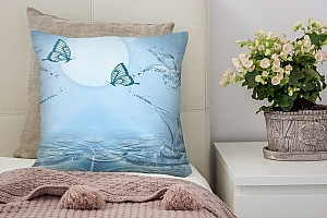 3D Подушка «Объемные цветы из брызг с бабочками»