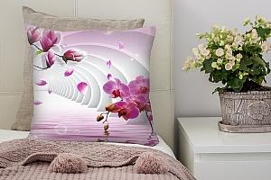 3D Подушка «Объемные колонны с цветами»