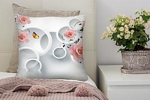 3D Подушка «Бутоны роз над водой»