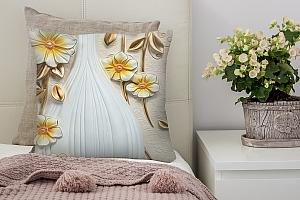 3D Подушка «Объемная ваза с цветами»