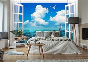 3D Фотообои  «Распахнутое в море окно»  вид 2