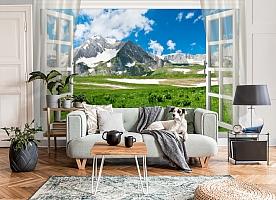 3D Фотообои  «Вид из окна на горную природу»  вид 6