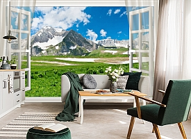 3D Фотообои  «Вид из окна на горную природу»