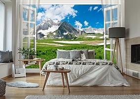 3D Фотообои  «Вид из окна на горную природу»  вид 2