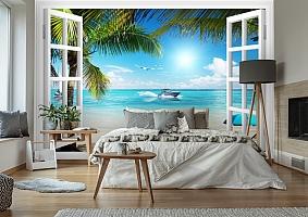 3D Фотообои  «Вид из окна на пляж»